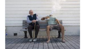 Two Men on a Bench Retouching